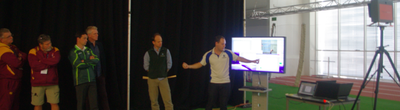 Mitch and demo the ICC arm action technology to Cricket Australia high performance team